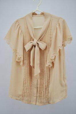 日系品牌CLEAR IMPRESSION 粉橘色襯衫/袖子押花別緻【LADY ONE】