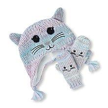 ⭐︎芯希亞⭐️The Children's Place超可愛藍紫色貓臉針織毛帽手套組 XS(6-12m)/S(12-24)