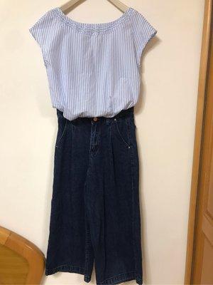 Tiff藍條紋短版上衣腰抓摺牛仔寬褲S