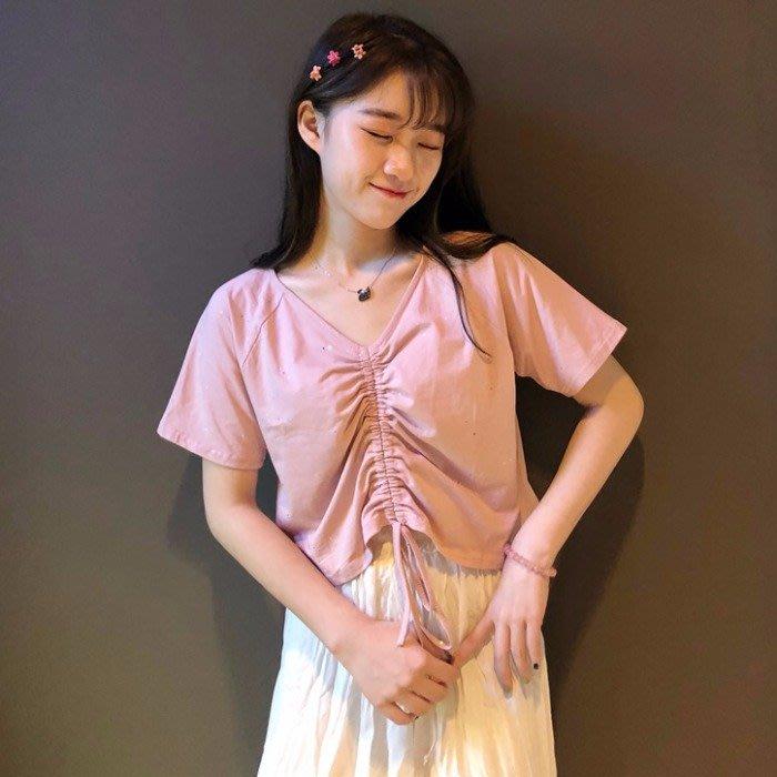 小香風 短袖T恤 時尚穿搭 小清新設計感抽繩褶皺甜美減齡V領短款短袖T恤女學生