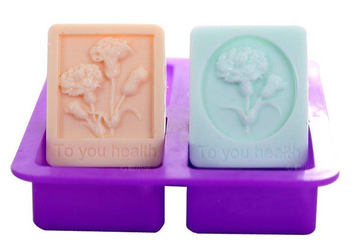 心動小羊^^美麗康乃馨4孔皂模矽膠手工皂模香皂模具(滿500元可加購)