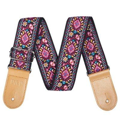 《小山烏克麗麗》民族風 圖騰 烏克麗麗背帶 刺繡背帶 烏克麗麗肩帶 吉他貝斯也可用 黑底粉紅圖