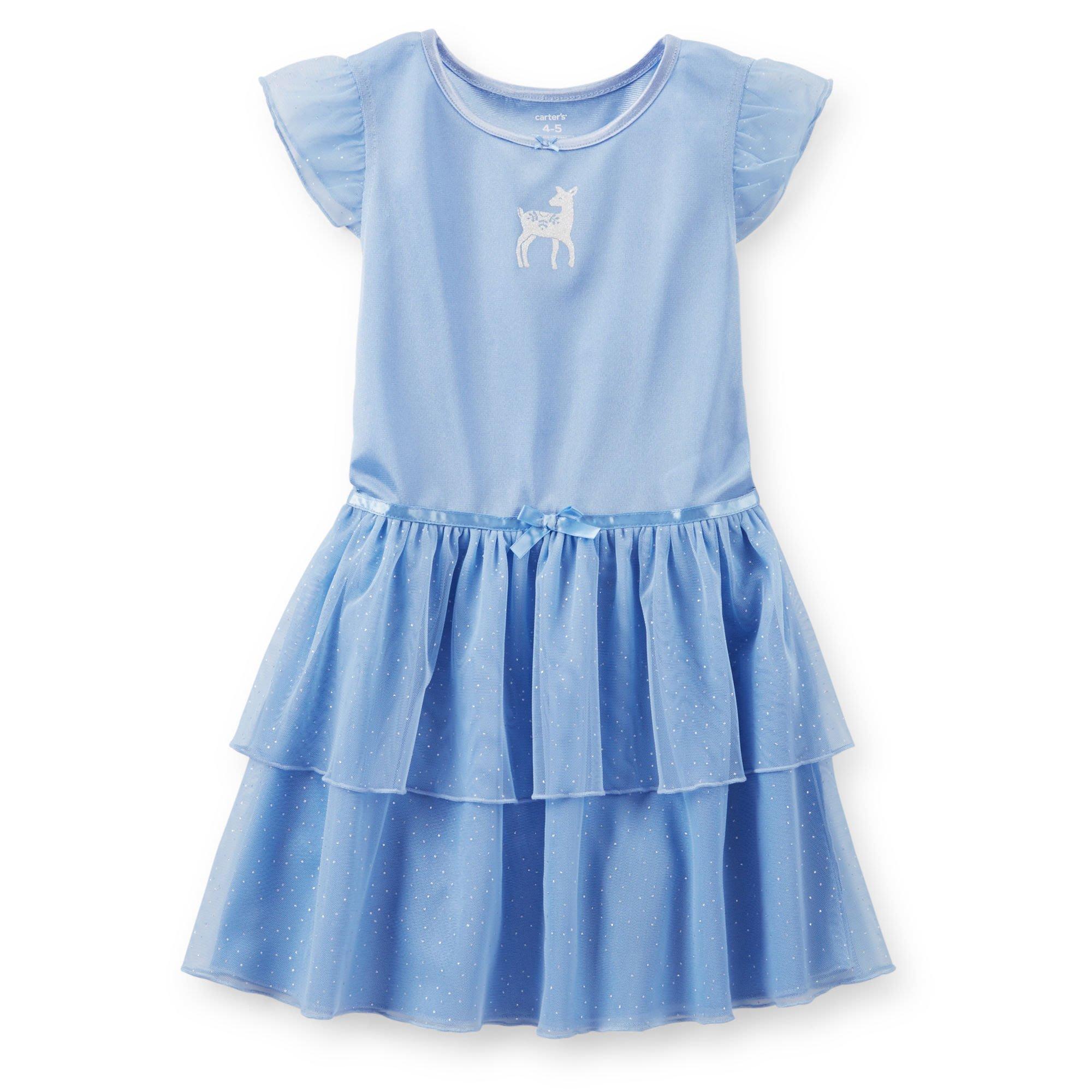 【Nicholes歐美進口優質童裝】Carters 女童藍色小鹿氣質紗裙洋裝/禮服/派對/發表會/花童