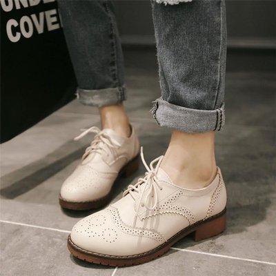 牛津鞋/紳士鞋 復古英倫風單鞋女平底繫帶布洛克粗跟學院風大碼女鞋