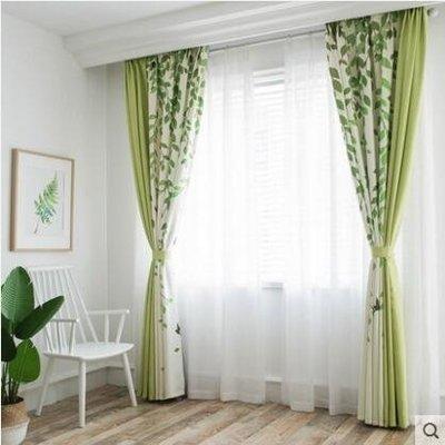 韓式田園綠色植物葉子清新遮光臥室棉麻窗...