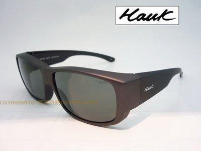 {都會眼鏡} Hawk 強化TAC偏光太陽眼鏡 包覆套鏡 近視可戴 霧鐵灰框灰綠鏡片 HK1003 立即護眼防曬!!