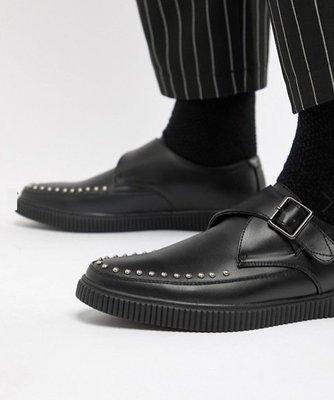 ◎美國代買◎ASOS代買圓鉚釘點點與皮扣裝飾鞋面齒輪狀鞋底英倫龐克風皮扣帶鉚釘皮鞋~歐美街風~大尺碼~
