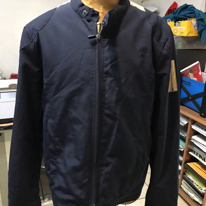 ZARA man Moda sport XL China made 二手八分新 立領外套 夾克 藍色