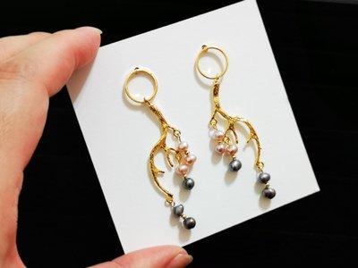 Mi 原創設計天然珍珠搭配防過敏耳針