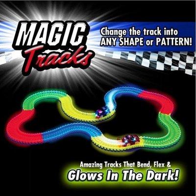 現貨 軌道車 220片螢光軌道車 兒童玩具 汽車 DIY 拼裝 套裝 兒童 軌道車 魔術軌道車 Magic tracks