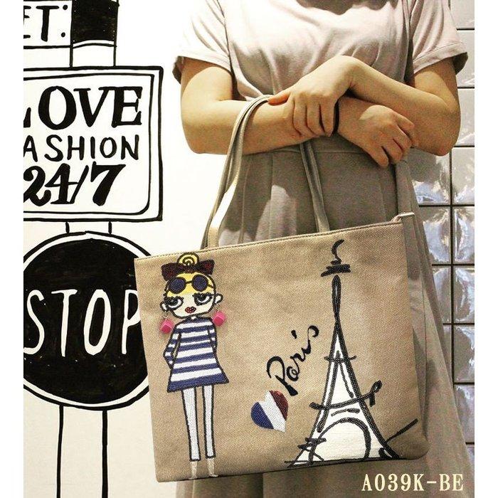 日本Lyre 巴黎鐵塔女孩Rita的刺繡亮片托特包 A039K