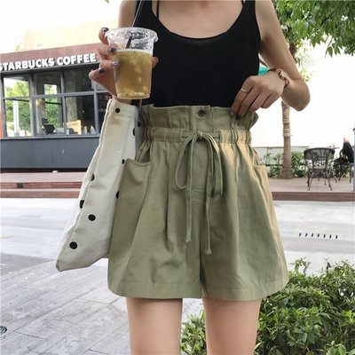 夏季女裝新款韓版抽繩花苞高腰顯瘦闊腿褲寬松百搭學生休閑褲短褲