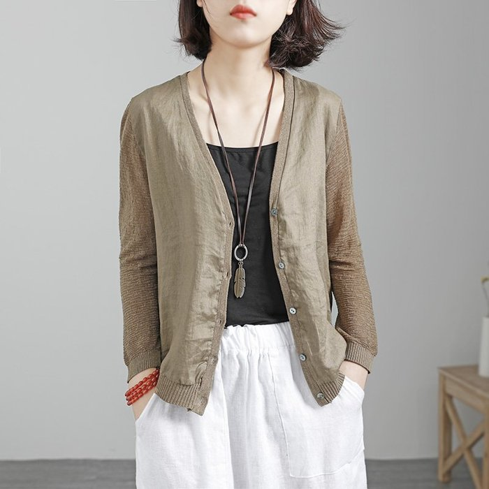 初秋薄款寬鬆顯瘦亞麻拼接冰絲針織衫小外套