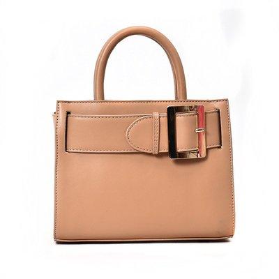 時尚皮帶裝飾立體方形手提側背包-2色❤❤麻豆實拍❤❤3401