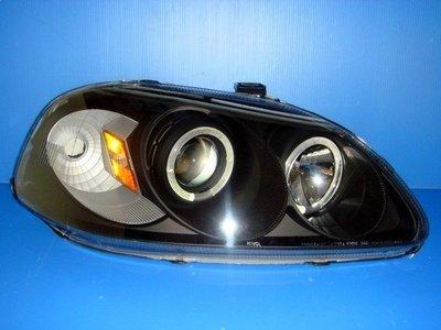 小亞車燈※全新 外銷 美規版 喜美 K8 96-98. K8 99-00小改款 黑框 黃角燈 光圈 魚眼 大燈