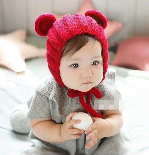 [桃子雜貨鋪]全新出清~~嬰兒童毛線帽立體耳朵套帽 護耳毛線帽手工寶寶針織帽 黑出清  新年新衣