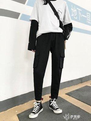 【蘑菇小隊】工裝褲工裝褲女秋冬新款寬鬆bf潮hiphop嘻哈chic束腳加絨直筒褲-MG37829