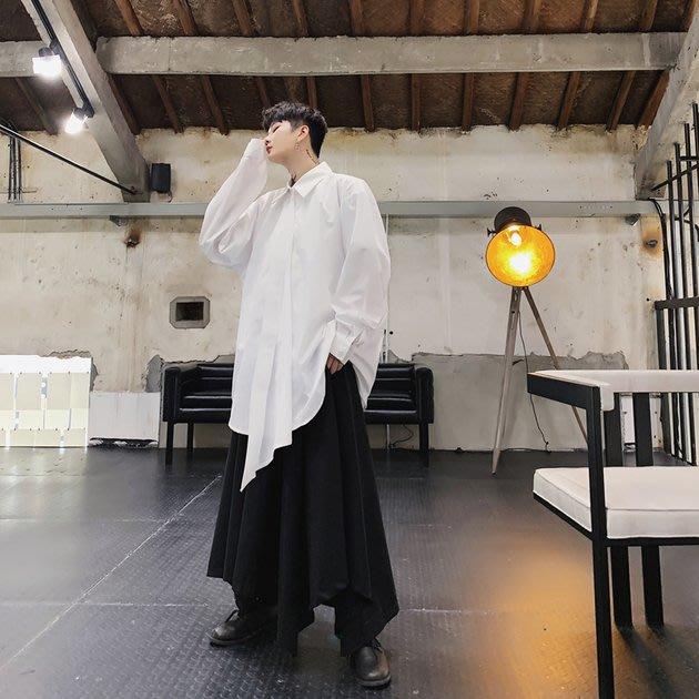 FINDSENSE 2019 秋季上新 G19 寬鬆氣質純色長袖襯衫素面襯衫黑色白色男裝 上衣