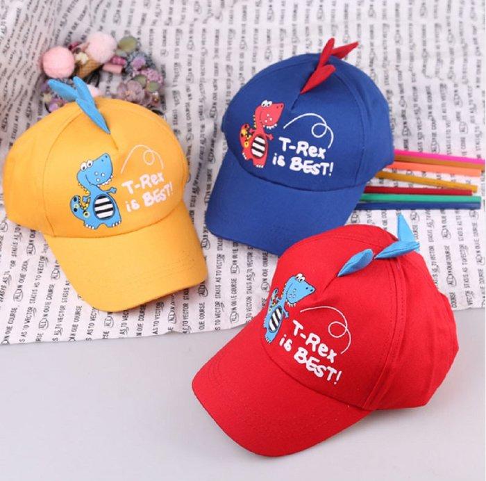 現貨~1-5歲兒童帽子寶寶恐龍卡通棒球帽防曬遮陽彎簷帽鴨舌帽(紅/黃/藍/黑色)