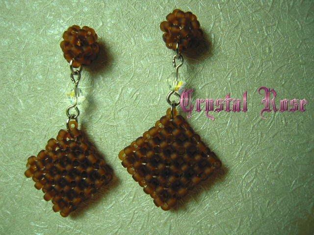 ※水晶玫瑰※ SWAROVSKI 水晶+松野珠 針式耳環(DD322)~僅此一對