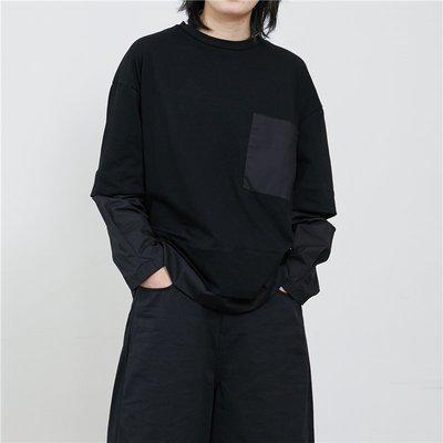 【鈷藍家】SU自制yohji風小眾山本暗黑百搭寬松拼接單口袋長袖T恤