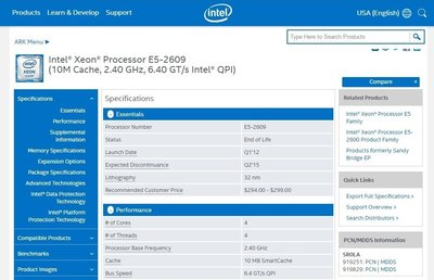 Intel Xeon E5-2609 10M Cache 2.40 GHz 6.40 GT 從Server拆下 功能正常