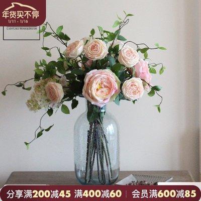 千禧禧居~ladylike出口手感玫瑰月季仿真假花美式簡約絹花家居客廳飾品擺件