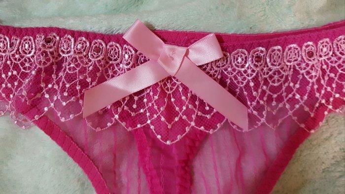 轉售楊謹華代言【曼黛瑪璉]V極線甜美粉鑽款低腰丁字網褲(魔女粉)F64017-3施華洛世奇(XL)原價620元