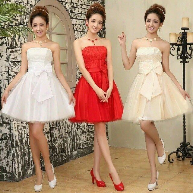麗的衣鋪 **新娘結婚禮服 蝴蝶結短款抹胸敬酒服伴娘晚宴禮服小禮服