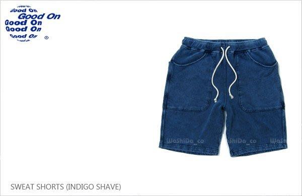WaShiDa【gobw1201is】Good On 日本品牌 INDIGO SHAVE 藍染 色落 棉短褲