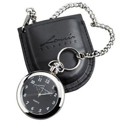 【德國Louis】LOUIS古典懷錶 有掛鍊附真皮套 經典復古風格懷表高質感掛鏈手錶腕錶重機騎士最佳禮品10000838