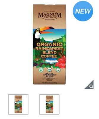 【多娜代購】Magnum 熱帶雨林咖啡豆907公克/100% 阿拉比卡咖啡豆,生豆來自玻利維亞及祕魯,雨林聯盟認證/好市多代購