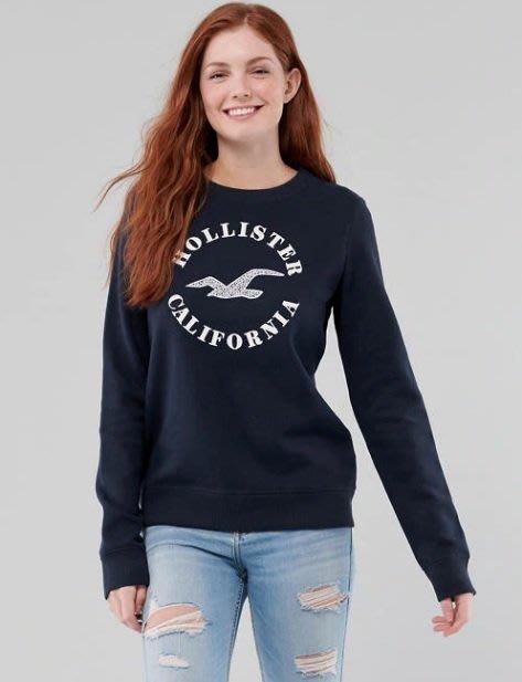 HCO Hollister 海鷗 貼布車繡蕾絲LOGO 大學T 藍色