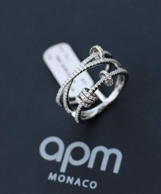 安安精品 保證正品!林志玲同款金APM MONACO XL系列晶讚925銀戒指可滾動多圈指環戒指 銀色 A17574OX