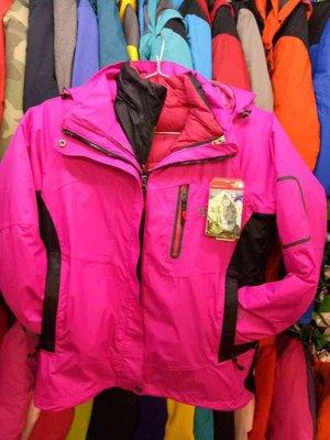 新款全新THE NORTH FACE五合一女生羽絨外套(外層Gore tex風衣,內層900FILL輕羽絨)-桃紅色