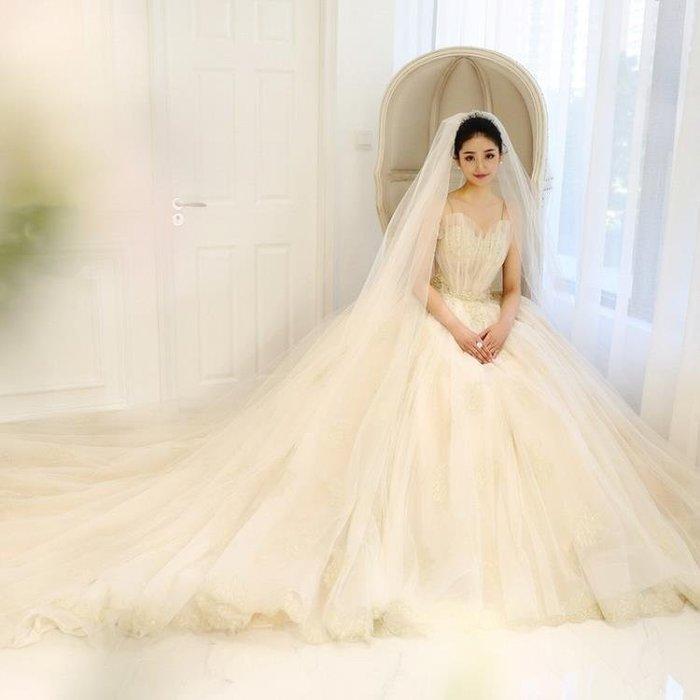 麥麥部落 婚紗禮服禮服洋裝主婚紗拖尾新娘結婚齊地公主夢幻吊帶MB9D8