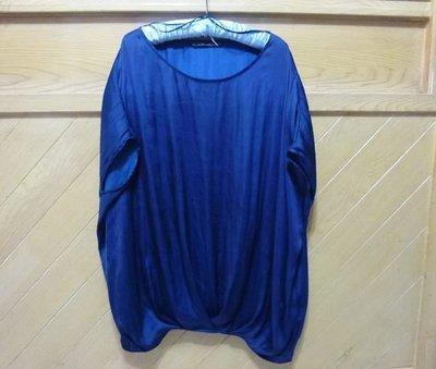 ☆☆現貨在台 免國際郵資唷☆西班牙Zara Basic 深藍色緞面花苞型長上衣/短洋裝☆☆