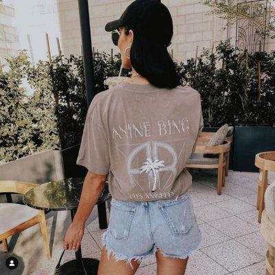 CC Collection 代購 ANINE BING 21SS 春夏 水洗灰褐色仿舊印花短袖T恤