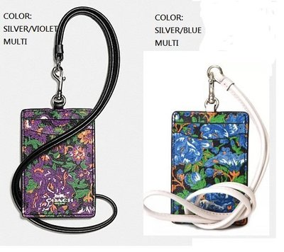 COACH 57990 LANYARD ID IN ROSE MEADOW FLORAL PRINT證件/票卡 ID/識