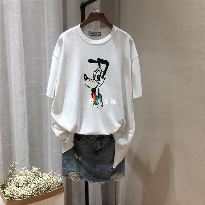 韓櫥服飾親膚彈力棉打底體恤衫上衣夏季新微胖顯瘦卡通破洞短袖t恤 女8250