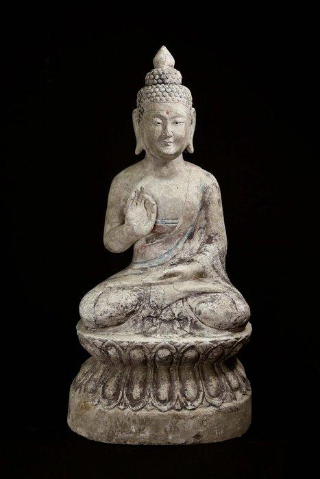 《博古珍藏》青石雕礦物彩繪釋迦牟尼古佛坐像.老件擺件.信徒結緣.超值回饋
