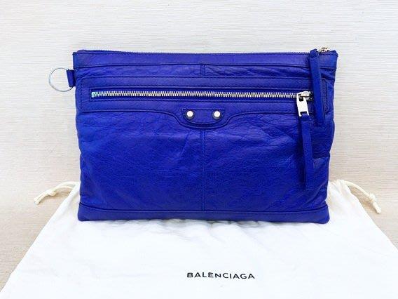 【遠麗米濱】台北大安店~A9338 balenciaga巴黎世家藍色手拿包 真品/正品