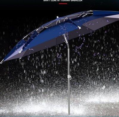 哆啦本鋪 戶外釣魚傘防雨2.2米加厚黑膠2.4米垂釣傘萬向雙層漁傘釣雨傘 D655