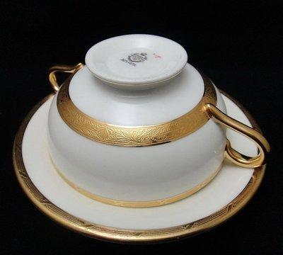 【timekeeper】 英國製Minton明頓華麗重金雙耳湯杯+盤(免運)
