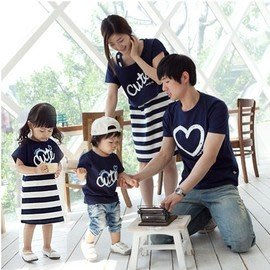 【零碼出清.恕不退換】韓版《條文CUTE》短袖款親子裝♥情侶裝CP-S42