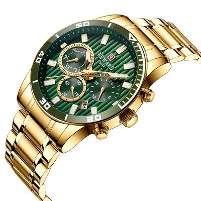 【潮裡潮氣】Reward /瑞沃達三眼多功能運動手錶男士防水日曆鋼帶手錶RD81009M