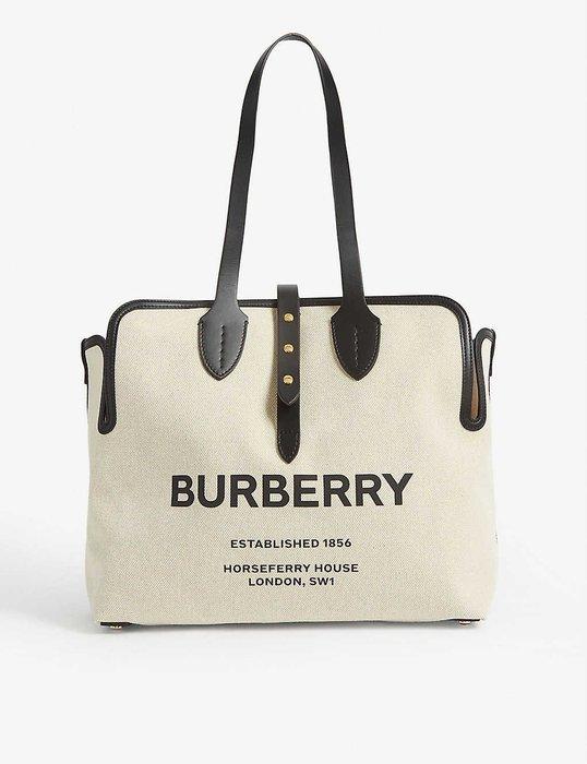 【 代購】熱門 Burberry Logo 中型 帆布 側背包 托特包