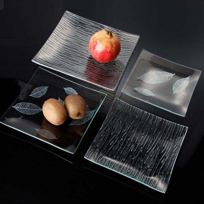 4個起購-鋼化玻璃盤子餐具耐熱家用透明水果盤零食盤子小吃盤碟子茶盤菜盤(尺寸不同價格不同~)