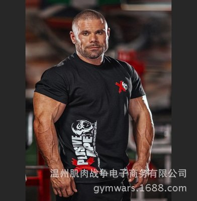 本土生產 肌肉戰爭健身兄弟夏季排汗吸濕健身運動短袖T恤新款一鍵