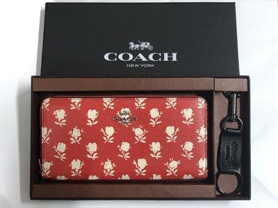 (新款禮盒附鑰匙圈、鏡子)Coach 蔻馳 53942 新款女士玫瑰花卉拉鍊皮夾 手拿包 附購買證明